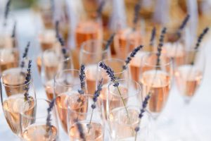 Glasses of with champagne decorated with lavender